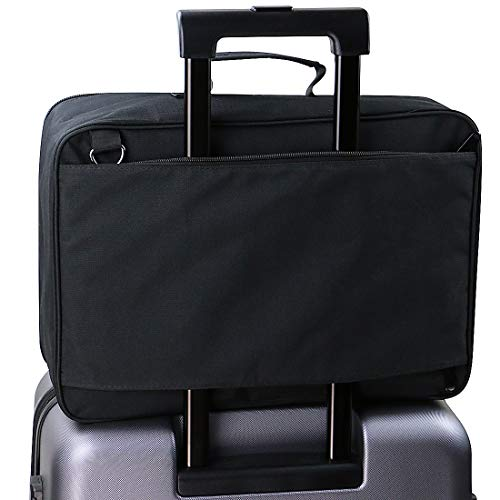 Nylon-Reisetasche, fest mit Trolley-Griffen, Gepäckaufbewahrung Tasche für Anzug und Hemd usw. Reise-Duffel-Schultertasche, Schwarz