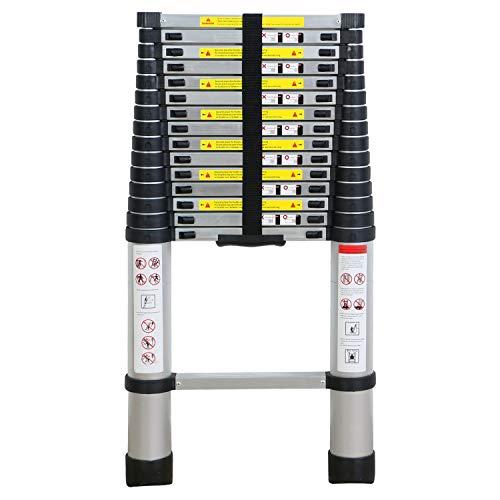 WolfWise Échelle Télescopique de 4,7M - Échelle de Loft Télescopique Élevée, Capacité de 330 livres/150 kg, Noir