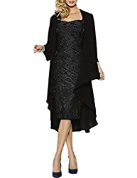 HWAN Lace Mother of The Bride Dresses Formal Gowns With Chiffon Jacket Wraps Bolero