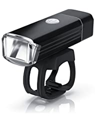Aplic - LED Faro para bicicleta con la batería recargable   Iluminación para bicicleta / Lámpara para bicicleta / Luz para bicicleta (luz delantera)   Fijación rápida y sencilla   Pila de iones de litio de 1000 mAh   Puerto USB de carga   Resistente a los golpes / salpicaduras de agua   Botón de encendido/apagado   Aluminio Negro