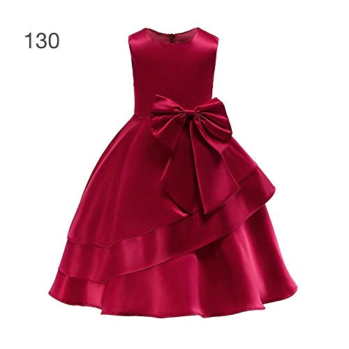Neue Mädchen Kleid Rock Langes Kleid Bow Satin Princess Dress Bebe Satin