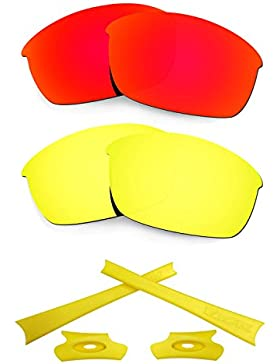 HKUCO For Oakley Flak Jacket Red/24K Gold Polarized Replacement Lenses And Yellow Earsocks Rubber Kit