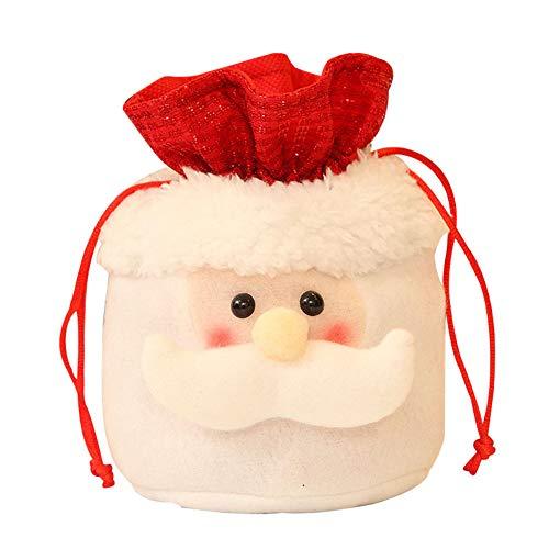 ROKOO Nette Weihnachtsstoff-Beutel-Zugschnur-Süßigkeits-Plätzchen-Taschen Schneemann-Weihnachtsmann-Elch-Geschenk-Taschen