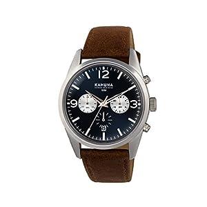 Kahuna–Reloj de Hombre de Cuarzo con Esfera Azul Cronógrafo y Correa de PU marrón KCS-0011G