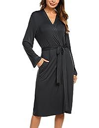 Skione Morgenmantel Bademantel Damen Baumwolle Sommer Kimono Leicht Robe Jersey kurz Hausanzug Sleepwear Saunamantel