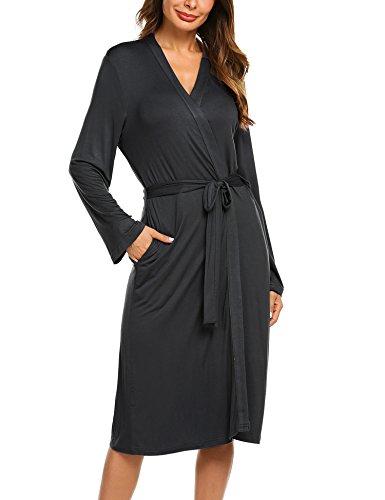 Jersey Robe Damen Morgenmantel Bademantel Sommer Schwangere Saunamantel Schlafanzug Pyjamas weich V Ausschnitt schlafmantel Pyjama Kimono