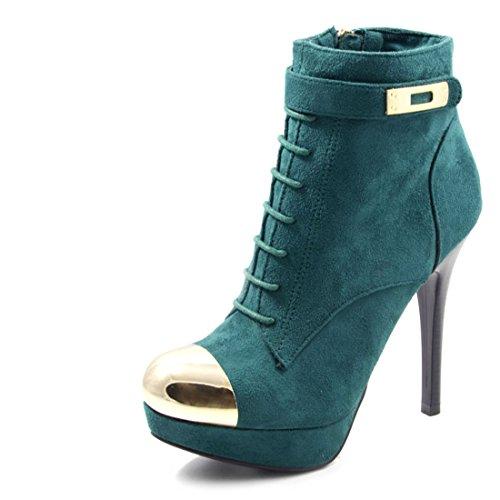 Elegante Damen Plateau High Heels Pumps Metallic Stilettos mit Reißverschluss in Lederoptik Dunkelgrün 36
