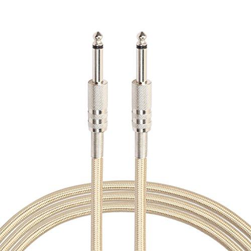 Audio Geflochtenes Nylonkabel 6,35 Klinkenstecker-Aux-Kabel für Gitarre (3m Gold)