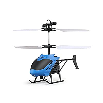 EBILUN RC Drone Mini Infrared Induction One - key Remote Control Aircraft with Flash Light D715-1 Helicopter for Birthday Christmas New Year Gifts Award Blue