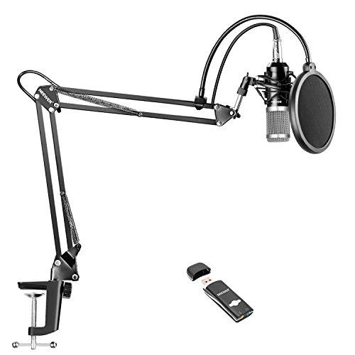 Neewer Pro-Kondensatormikrofon Set für Studioaufnahmen, Lieferumfang: NW-800 Kondensatormikrofon (silber), einstellbare Aufhängung Scherenarmständer mit Shock Mount, Montageklemme, USB Soundkarte (Mikrofon-aufhängung Neewer)