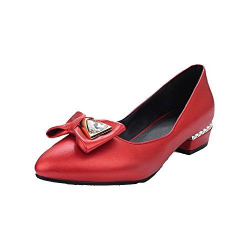 AllhqFashion Femme Tire Pointu à Talon Bas Pu Cuir Mosaïque Chaussures Légeres Rouge