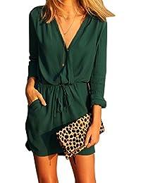 Tongshi Parte de la gasa de las mujeres con cuello en V manga larga verde del vestido de noche mini vestido ocasional del verano