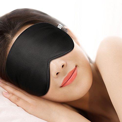 Masque de Sommeil, Masque de Nuit, Gratein 100% Soie Naturelle Occultant Ultra-Douce Masque de Voyage Masque de yeux Ergonomique pour Dormir avec Bouchons d'oreille et Sangle Réglable-Noir