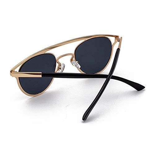 FURUDONGHAI Retro Persönlichkeit Sonnenbrille New Ellipse Hollow Glasses Unisex UV400 Schutz Amber Frame besonders geeignet für sommerreisen oder Outdoor s (Farbe : Black)