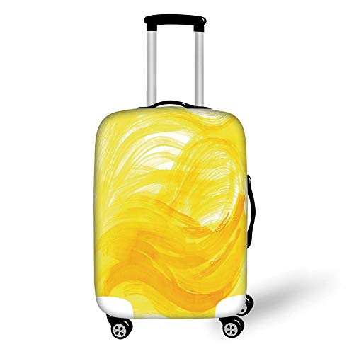 Travel Luggage Cover Suitcase Protector,Yellow and White,Painting Style Brushstroke Twist Abstract Artistic Monochrome Wave,Yellow Marigold,for TravelL 25.9x37.8Inch -