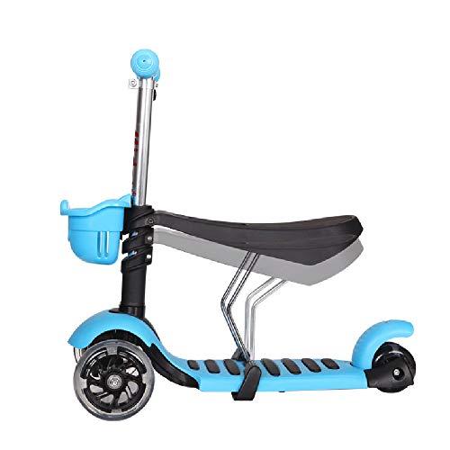 ILYO 3 Wheel Roller für Girls DREI-in-eins faltbares hochelastisches PU-Rad Multifunktionsgerät Kinder-Roller Baby Walker