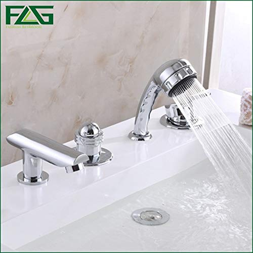 FLG Eurostyle Cosmopolitan Bath Faucet With Hand Shower Set Bathroom Brass Hand Shower Chrome Cast Bath Shower Faucet Set Y01 - Grohe Cast