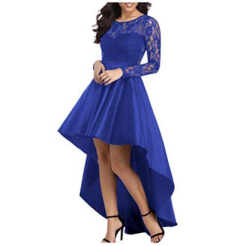 ZLDDE Rauen Langarm Spitze High Low Satin Prom (Grecian Kleid Plus Größe)