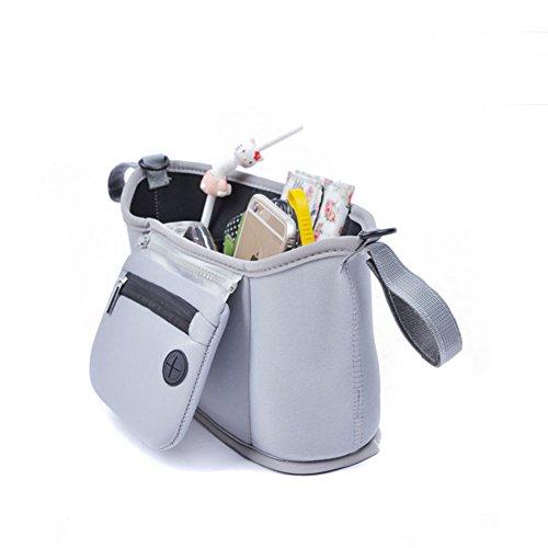 Chikencall Borsa organizer, adatta per qualsiasi carrozzina e passeggino, borsa portaoggetti, fasciatoio, per tazze e bottiglie., Tela, White, 12.4*3.7*6.7 Grigio