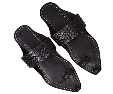 Ethnic Pure Leather Black Kolhapuri Chappal For Men (11)