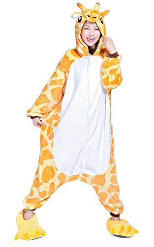 Tierkostüme (Tieroutfit Halloween Giraffe Kostüm Kigurumi Schlafanzug Erwachsene Japanische Tier Pyjama Onesie tierkostüme gelb (S(für Höhe)