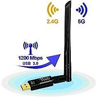 Yezala Cle WiFi USB 1200Mbit/s, Adaptateur WiFi avec 5dBi Antenne Dual Band (2.4G / 300M + 5G / 867M) USB 3.0 WiFi Dongle 802.11 AC Carte réseau sans Fil pour Ordinateur de Bureau PC