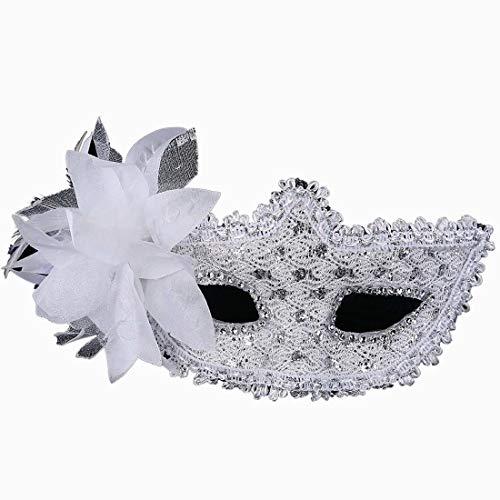 Xiton Frauen Venedig Sexy Spitzen-Maske mit Strass Kostüm Masquerade Maske für Karneval, anonyme venezianischen Karnevalsmaske und Tanz, weiß