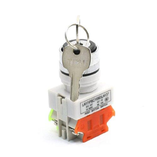 Sourcingmap - 660v 10a 1no 1nc dpst a chiave 2 posizioni interruttore a pulsante w 2 chiavi