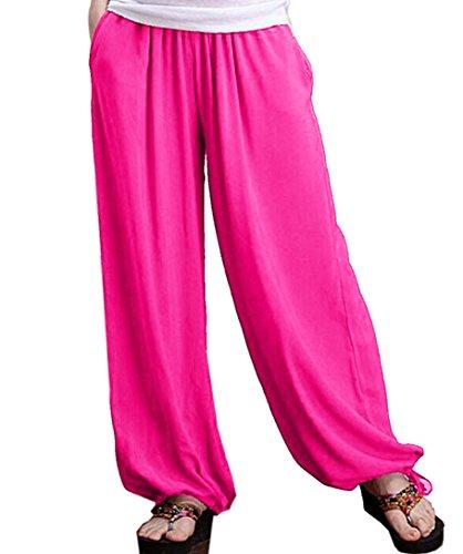 Aivtalk - Damen Sommerhose Pumphose Leinenhose Jogahose mit weiten Beinen in großen Größen Rosa