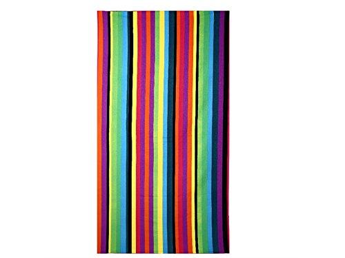 Houhounnpo rifornimenti giornalieri asciugamano da spiaggia accappatoio con stampa reattiva neutra e strisce colorate (colorato)