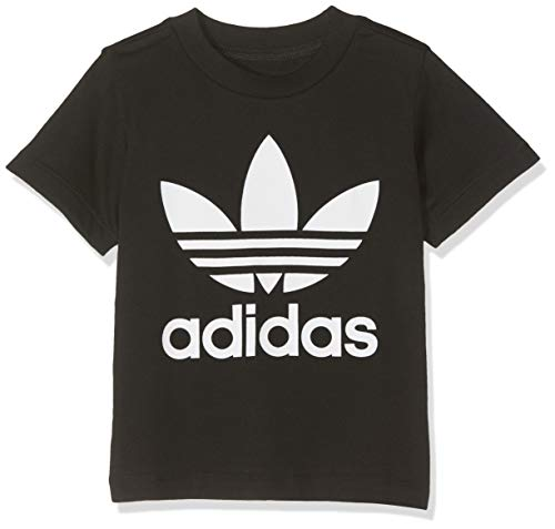 Adidas trefoil tee, t-shirts unisex bambini, black/white, 9-12m