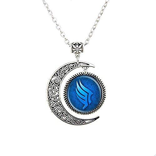 Mass Effect Paragon Glas Halskette Mond, Blue Moon Halskette, Glas rund Dome Halskette Mond Schmuck (Blue Moon Glas)