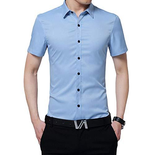 Nutexrol Herren Kurzarm Hemd für Business Hochzeit Freizeit Einfarbig Bügelfrei Blau XL