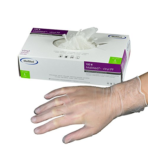MaiMed Vinyl-Handschuhe Weiß (100 Stück) | Größe L | latexfreie Arbeitshandschuhe extrem dehnbar & reißfest | Nagelstudio Handschuhe ohne Puder | Einweghandschuhe + hygienisch + puderfrei -
