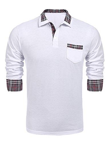 Coofandy Herren Poloshirt Langarm Einfarbig Freizeit Polo Kragen Plaid spleißen Polohemd für Männer
