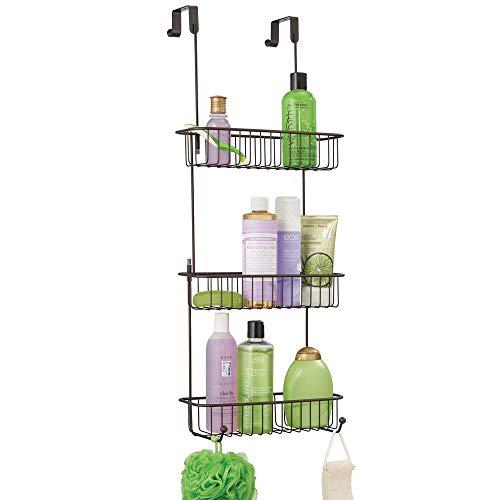mDesign Duschkorb zum Hängen über die Duschtür – hübsche Duschablage ohne Bohren – Duschregal aus Metall mit drei Körben und zwei Haken für allerlei Duschzubehör – bronzefarben