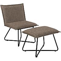 Preisvergleich für [en.casa] Stabiler Sessel mit Fußhocker im Set Dunkelbraun - Wildlederimitat - Eisengestell