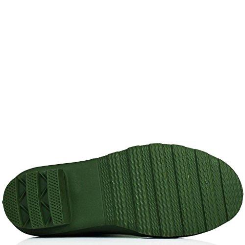 SPYLOVEBUY MEGAN Femmes Haute Plates Bottes de Pluie Vert