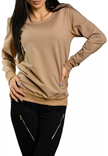 Zeta Ville - Femme sweat-shirt pull molletonné coupe masculine col rond - 071z Caffe Latte