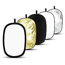 Pannello Riflettente Portatile Pieghevole Ovale Multi-disco Riflettore ESDDI 60x90cm 5 in 1 Richiudibile, per Studio Fotografico o Fotografia in Esterno