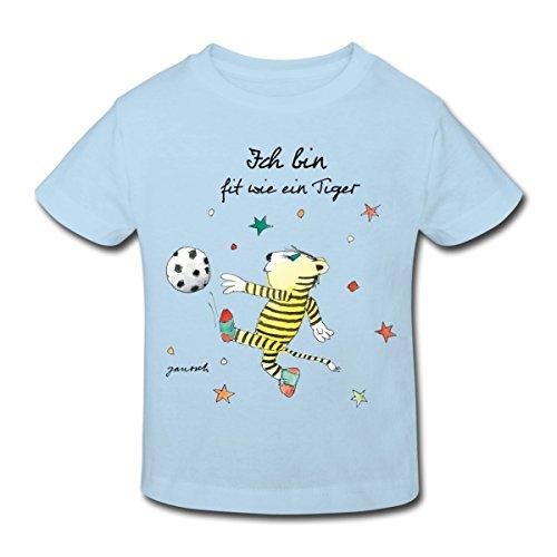Spreadshirt Janosch Fit Wie Der Kleine Tiger Fußball Kinder Bio-T-Shirt, 134/140 (9-10 Jahre), Hellblau (Mädchen Fußball-t-shirt Dribbeln,)