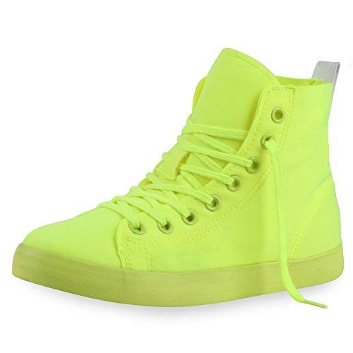 best-boots Damen High-Top Sneaker Schnürer Slipper Halbschuhe sportlich Damen Sneakers Neongelb Nuovo 36 - Hop Schuhe Hip
