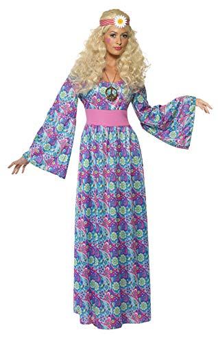 Blumenkind Damenkostüm Maxikleid mit Taillengürtel und Glockenärmeln, (Hippie Flower Child Adult Kostüm)