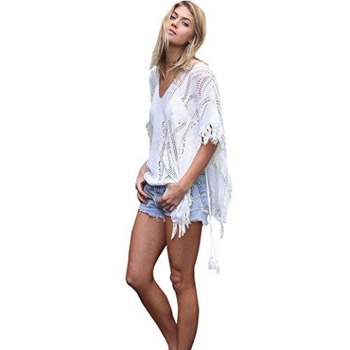 Zarupeng Beachwear Cover up, Quaste Crochet V-Ausschnitt Aushöhlen Bademode Lose Strand Bluse Badeanzug Bikini Tops, Weiß, Schwarz, One Size (M, Weiß)