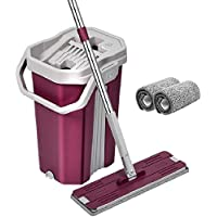 Mop with Bucket - Pureatic by UPC Upgraded Hands-Free Squeeze Microfiber Flat Spin Mop System 360° Flexible Head (38X12.5 cm) Mop with 1+1 Super-absorbent Microfiber Pads, 59.8'' Extended Stainless Steel Handle (Pink)(Customer Care 9560970795)