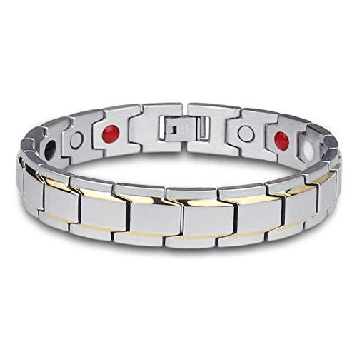 Armbänder für Herren,Magnet Armband Herren Accessoires Titan Stahl Schmuck Armband Magnetische Strahlung Gesundheit Leben Armband Fatigue Relief Silber
