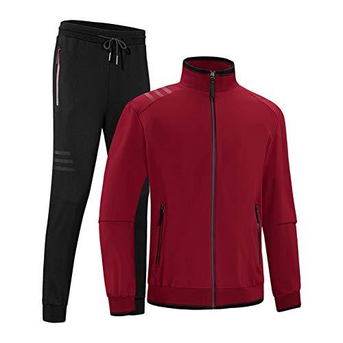 Sweatsuit Jacke Hose (WYX Herren Activewear Trainingsanzüge 2 Stück Jacke & Hose Full Zip Jogging Sweatsuit Sportswear,Red,5XL)