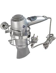 WENKO 17832100 Power-Loc Haartrocknerhalter Sion - Befestigen ohne bohren, mit Kabelhalter, Stahl, 16 x 10.5 x 12.5 cm, Chrom
