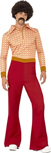 leid Groovy Tänzer 70er Hippie-Authentic Guy Kostüm Outfit, Rot ()