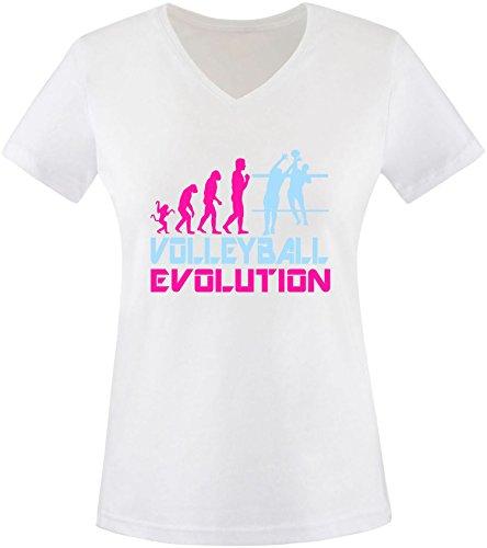 EZYshirt® Volleyball Evolution Damen V-Neck T-Shirt Weiss/Pink/Hellbl